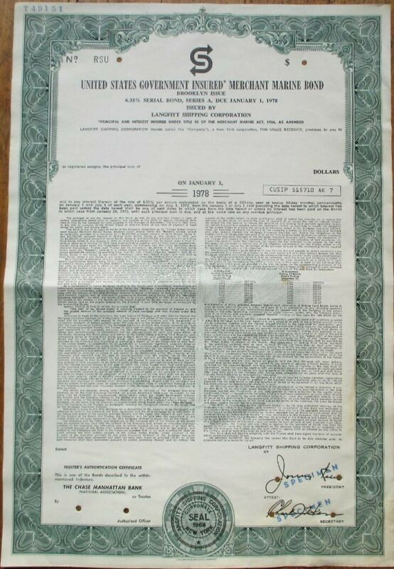 Merchant Marine 1972 SPECIMEN Bond Certificate - Brooklyn Issue, US Government