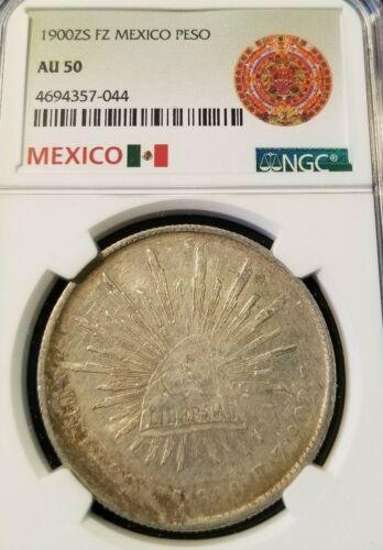 1900 Zs FZ MEXICO SILVER UN PESO NGC AU 50 GOOD LOOKING ZACATECAS COIN !!!