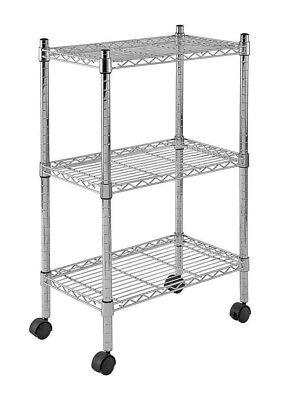 Sandusky Chrome Mobile Wire 3 Shelf Commercial Utility Cart W Caster Wheels