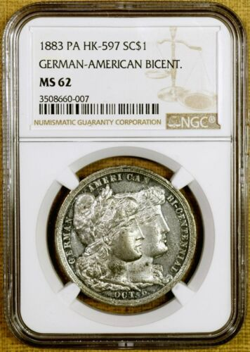 1883 NGC MS62 HK-597 German-American Bicentennial So Called Dollar