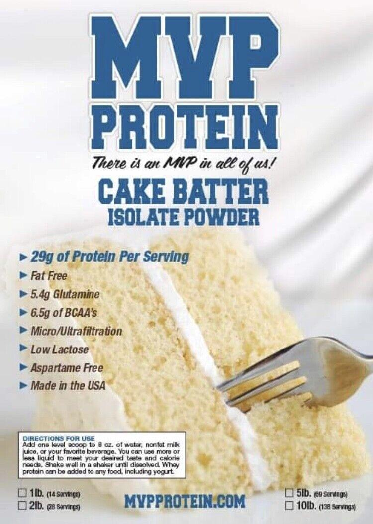 """MVP PROTEIN""  ""CAKE BATTER"" Whey Isolate Protein Powder-"