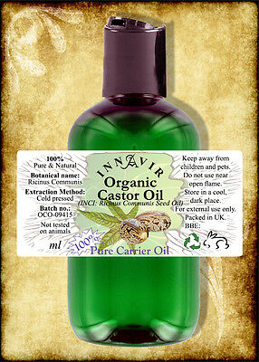 Pure Organic Castor Carrier Oil BP - Cold Pressed 1 litre,500ml,200ml,100ml,50ml