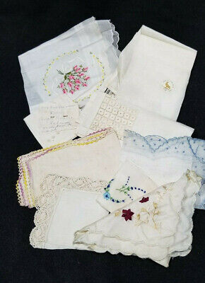 Pretty Yellow Edging Handmade White Vintage Hankie Estate Sale Shabby Chic 10 inches by 10 inches