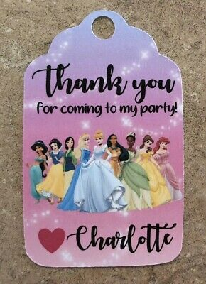 12 Personalized Thank you Birthday Party Favor Tags. Disney Princesses](Party Favor Tags)
