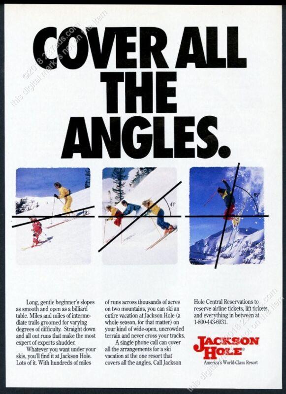 1991 Jackson Hole ski area skier skiing 3 photo vintage print ad