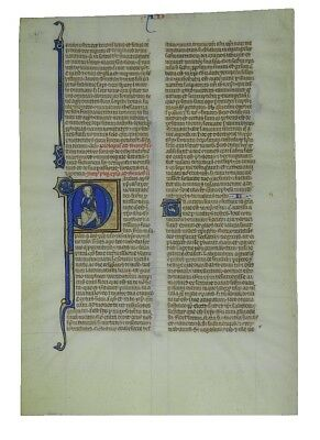 ILLUMINATED MANUSCRIPT BIBLE LEAF | ca. 1250 | 2nd Epistle of St Paul to Timothy