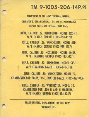 TM9-1005-206-14P/4 Rifle Winchester M70 Remington Book Maintenance Operators USA