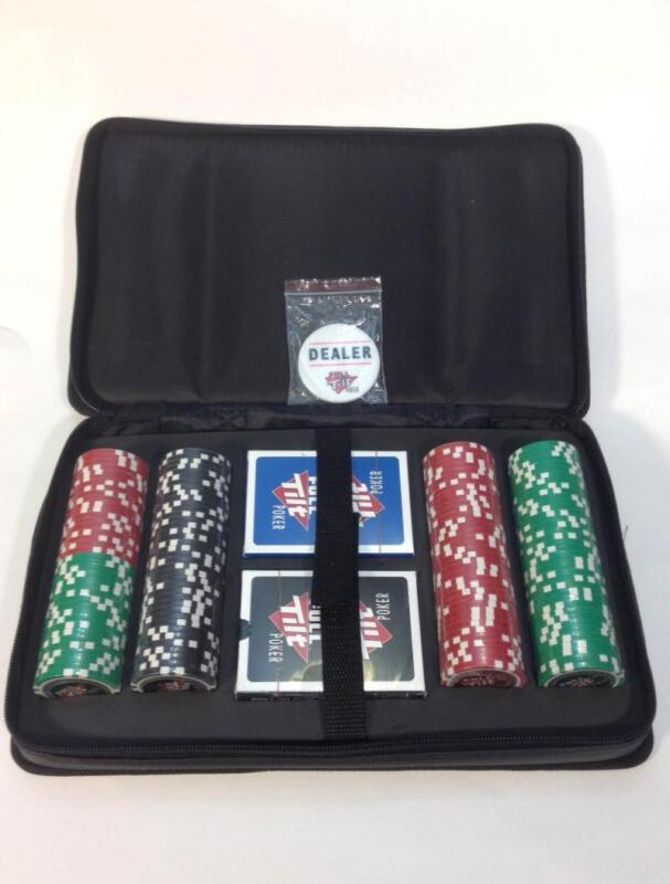 NEW! FULL TILT 152 PIECE CHIP POKER TRAVEL SET w/CARRY HANDLE 2-DECKS OF CARDS