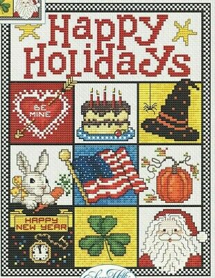 HAPPY HOLIDAYS--Sue Hillis--Christmas--Easter--USA--Counted Cross Stitch Pattern