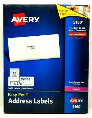 Avery Easy Peel Laser Address Labels 1 X 2 58 5160 68 Sheets 2040 Labels K5