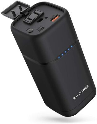 AC Portable Charger RAVPower 20000mAh 80W AC Power Bank with 30W PD 3.0 USB C
