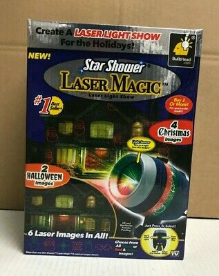 Halloween Light Shows (NIB Star Shower Laser Magic Laser Light Show 2 Halloween & 4 Christmas Images)