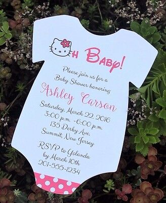 SET OF 10 Hello Kitty Baby Shower Invitation -  All Wording - Hello Kitty Baby Shower Invitations
