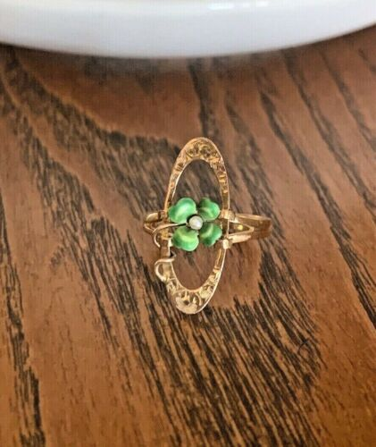 RARE 2 in 1 Gold RING & PENDANT Antique Enamel Clover 14k Gold Victorian Pearl