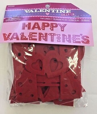 HAPPY VALENTINE'S felt red letters bulletin board classroom decor teacher supply (Valentine Classroom Decorations)