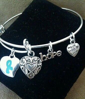 Cervical Ovarian Cancer Awareness Teal Ribbon Bangle Charm Bracelet Silver