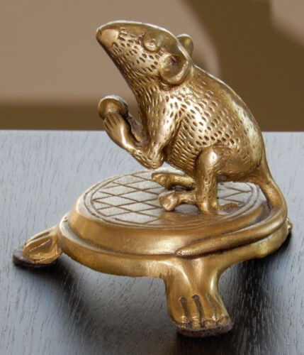 "Solid Brass Mouse / Rat 2 3/4"" Figurine on 1 1/4"" brass stand (all one piece)"