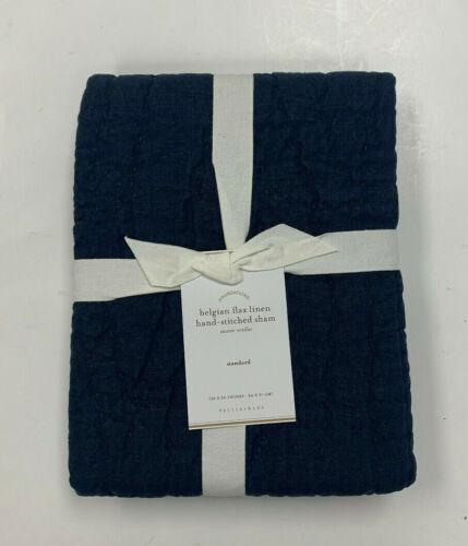Pottery Barn Midnight Blue Belgian Flax Linen Hand Stitched Sham Standard