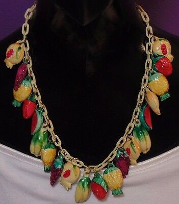 Vintage Japan Early Plastic Handpainted Colorful Fruit Salad Dangles Necklace