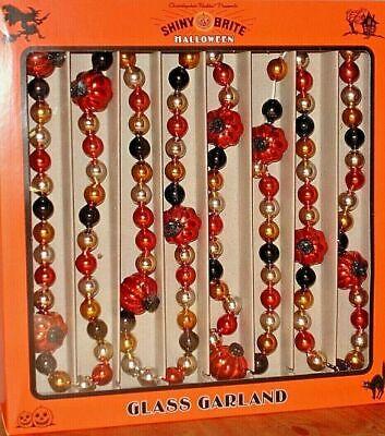 SHINY BRITE Halloween Glass Garland Pumpkins+Black,Orange,Gold Beads 7'