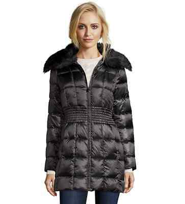 Box Quilted Coat (Laundry Shelli Segal Down Jacket Women's Box Quilted Faux Fur Collar Coat XS-S-M)