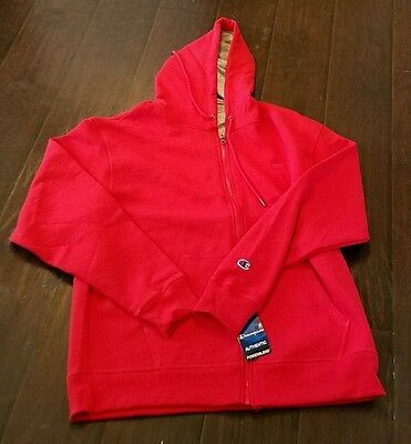 NWT Champion Authentic Hoodie Sweatshirt Men's Size Large Red Full Zip Jacket