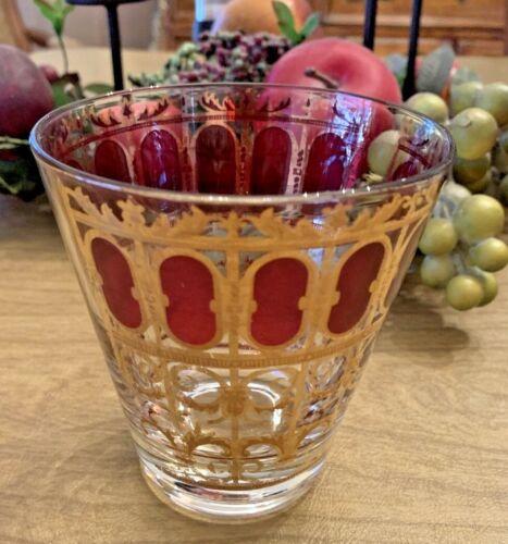 "Vtg CULVER LTD MCM CRANBERRY & GOLD SCROLL Whiskey Lowball Rocks GLASS 4"" Tall"