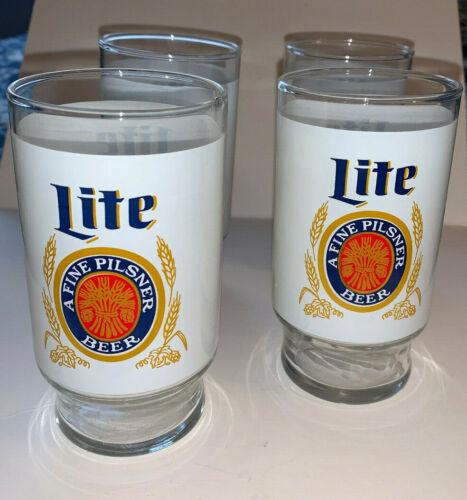Set of 4 Vintage Miller Lite Beer Glass Tumblers