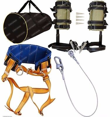 Tree Climbing Spikes Kit Gaffs Spur Safety Harness Belt Safety Lanyard Gear Bag