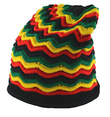 MS Unisex Slouchy Rasta Beanie Knit Hat Wave Stripe Black Green Yellow Red