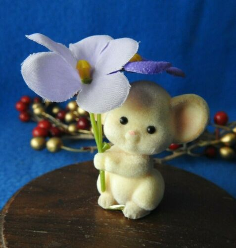 Hallmark Merry Miniature 1985 Mouse with Purple Flowers Flocked