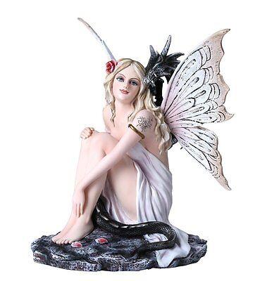 Fantasy Fairy with Dragon Figurine Fairyland Legends Decorative Statue 12 Inch H