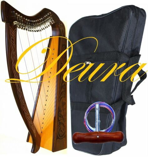 "32"" FULL LEVERS HARP DEURA Brand 19 Strings + BAG Irish Celtic Lap Folk DH-19L"