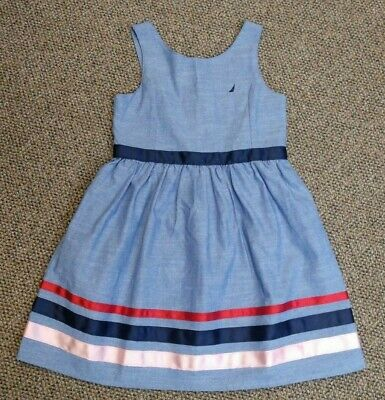 GIRLS sz 5 NAUTICA DRESS SUMMER SAILING SAILBOAT PICTURE BEAUTIFUL EUC