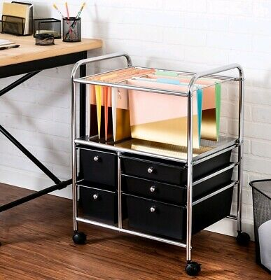 Honey Can Do 5-Drawer Hanging File Rolling Cart, Chrome/Black NEW Chrome Roll File