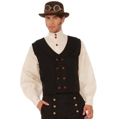Steampunk Vest Black Mens Waistcoat Costume Accessories One Size Pirate Medieval (Medieval Costume Accessories)