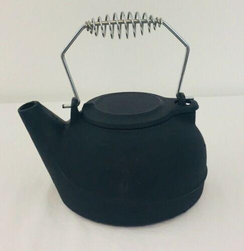 Cast Iron Tea Pot Black Swivel Lid Coil Metal Handle Water Kettle