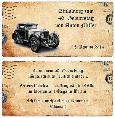 Geburtstag Oldtimer Vintage beige 20 30 40 50 60 70 (Vintage 60 Geburtstag Einladungen)