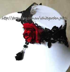 BLACK Lace Red Rose Gothic Necklace Goth Victorian Lolita Steampunk Rococo