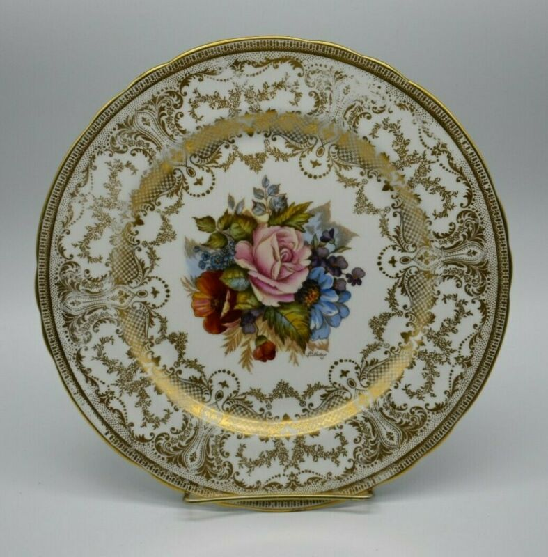 """Aynsley English Signed JA Bailey Multicolored Flowers & Gold 10"""" Dinner Plate"""