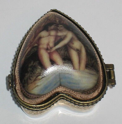 Erotik Dose aus Porzellan, Herzform, Schmuck o. Pillendose, Nostalgie, 6x5x5cm