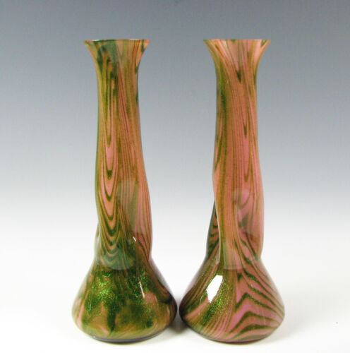 Pair of Antique Rindskopf Bohemian  Art Glass Vases