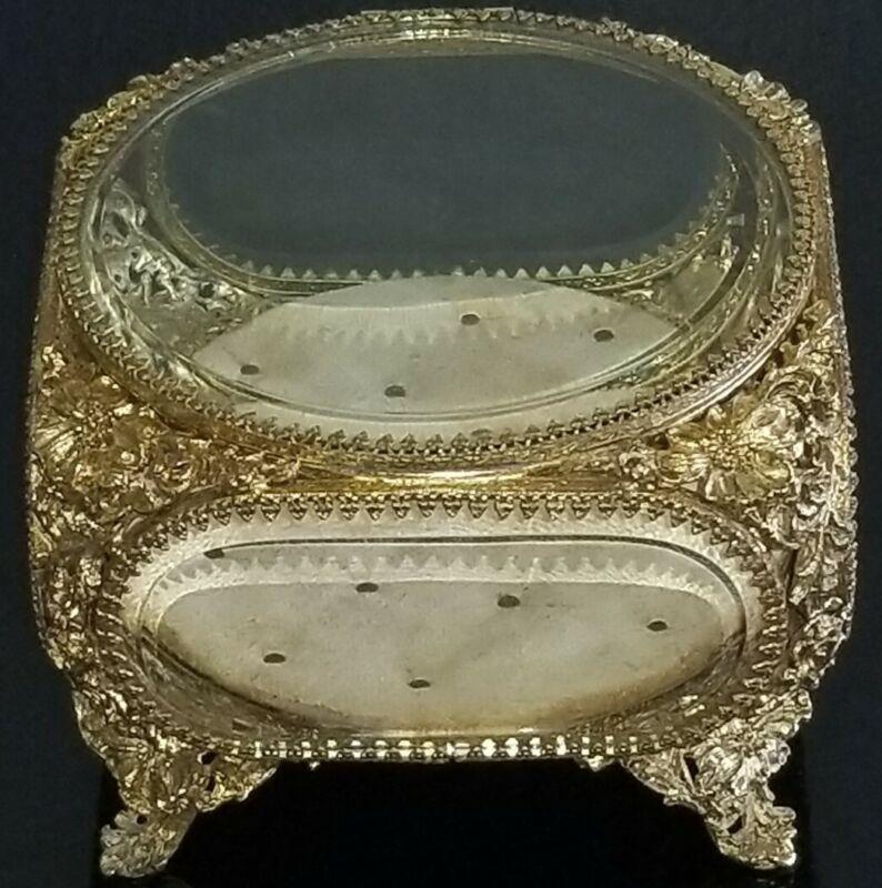 VTG SIGNED MATSON LARGE FLORAL 24K GOLD GILDED BEVELED GLASS CASKET JEWELRY BOX
