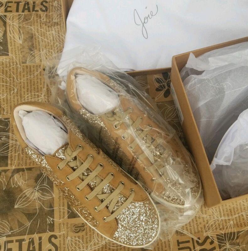 Joie Dakota Glitter Sneakers Gravel Glitter SIZE 36 US 6 MSRP $198 W Shoe Bag