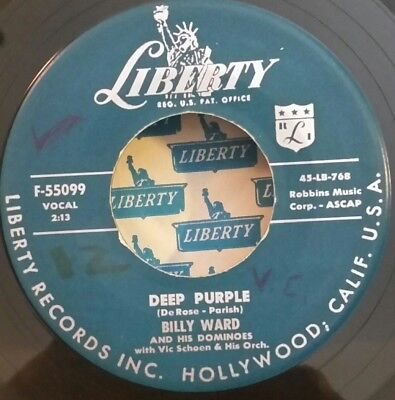 Billy Ward & His Dominoes Liberty 55099 DEEP PURPLE(GREAT DOO WOP 45) STRONG VG+ - Purple Domino
