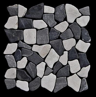 1 Matte Marmor Grau Weiß M-006 Bruchstein-Mosaik - Naturstein Fliesen Badezimmer