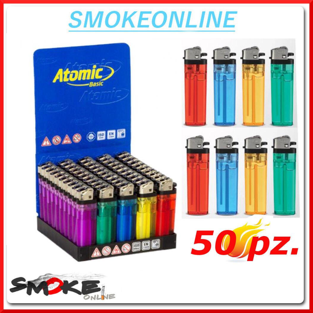 50 Accendini ATOMIC BASIC a PIETRINA Colorati non ricaricabili economici 1 BOX