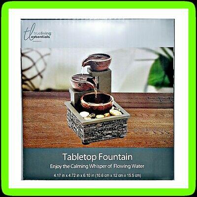 🎍True Living Tabletop Water Fountain 💦 Indoor Desk Calming Water 🆕 BRAND NEW!