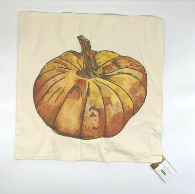 "POTTERY BARN ~ EMBROIDERED PUMPKIN PILLOW COVER ~ 20"" X 20"""