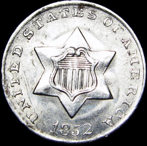 1852 Silver Three Cent Piece 3cp Type US Coin  ---- Gem BU Details  ----  #A885